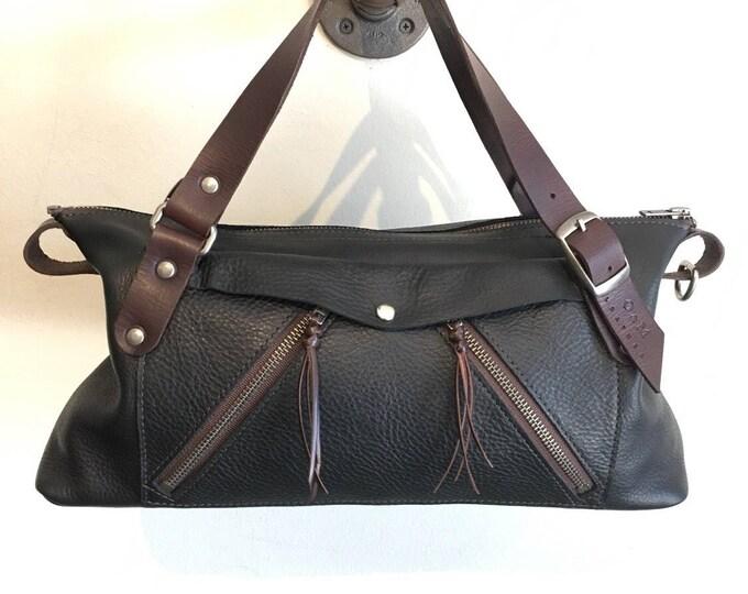 "Handcrafted Leather Shoulder Bag ""Three Zipper Bag"""