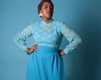 Vintage 70s Maxi Dress // Plus Size Cornflower Blue Ribbed Lace Maxi Dress // Plus Size Dress (sz L XL 12 14)