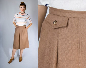 Vintage 70s GORDON of Philadelphia Brown Camel Tan Wool Pleated Front Skort Kilt Style Midi Skirt (sz S M)