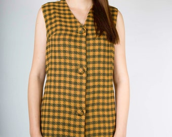 Vintage 70s Green Tan Buffalo Tartan Plaid Sleeveless Dress (sz S M)