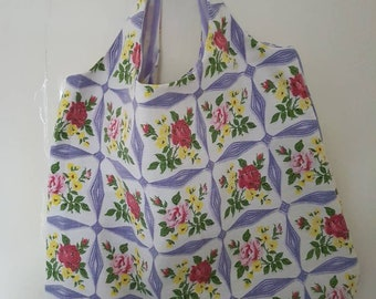 Vintage Barkcloth Happy Shopper Bag
