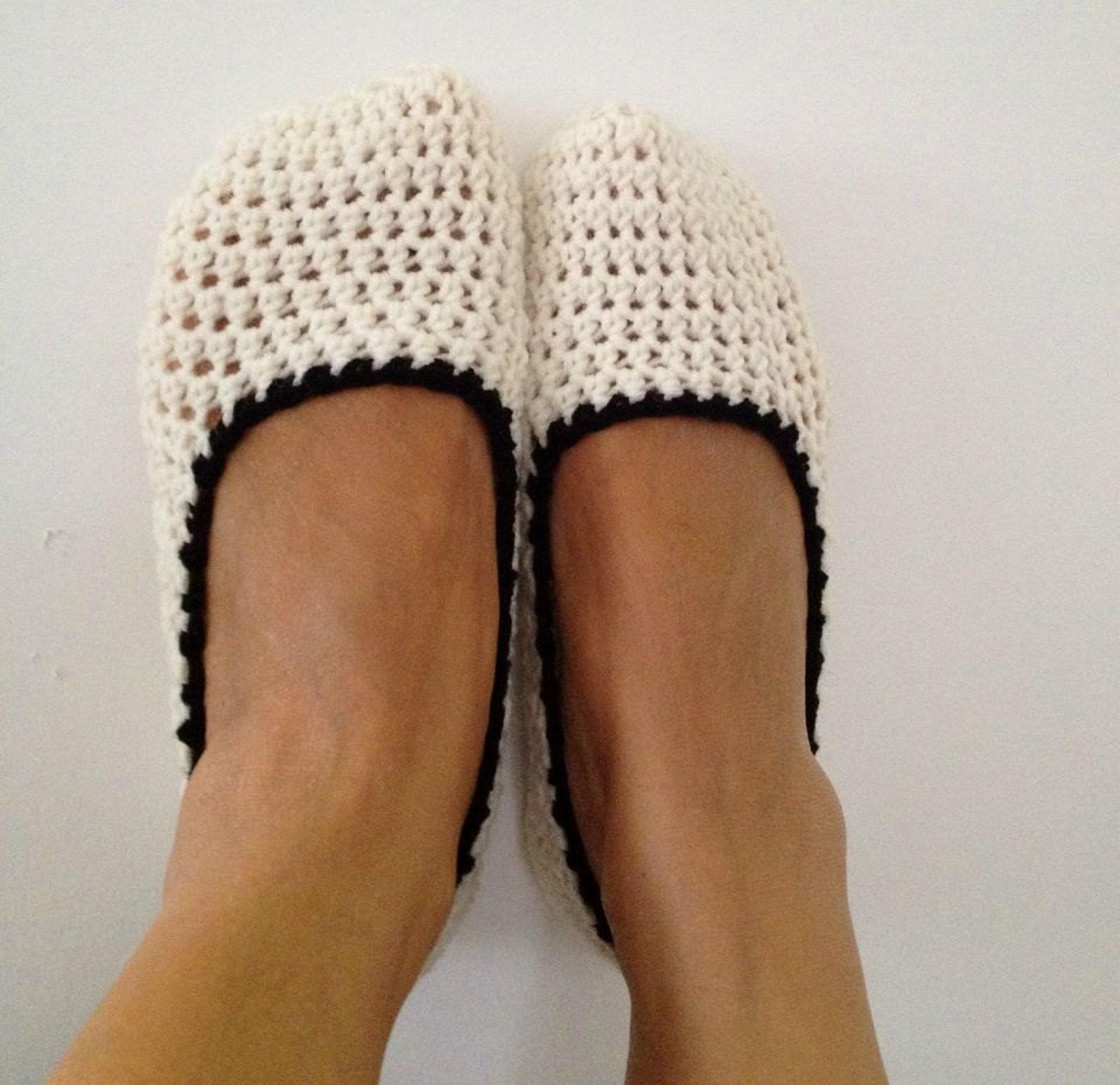 cream beige crochet womens slippers, ballet flats, house shoes