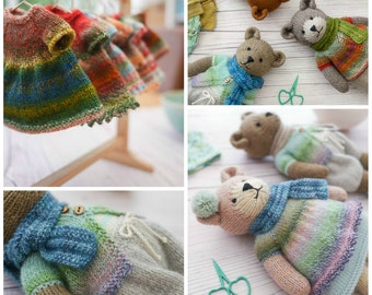 """Sock Yarn Pinafores and Cardigans plus Little Bear Scarf supplement/ Toy knitting pattern/ Doll Clothes (to fit 11"""" MJT Animals and Dolls)"""