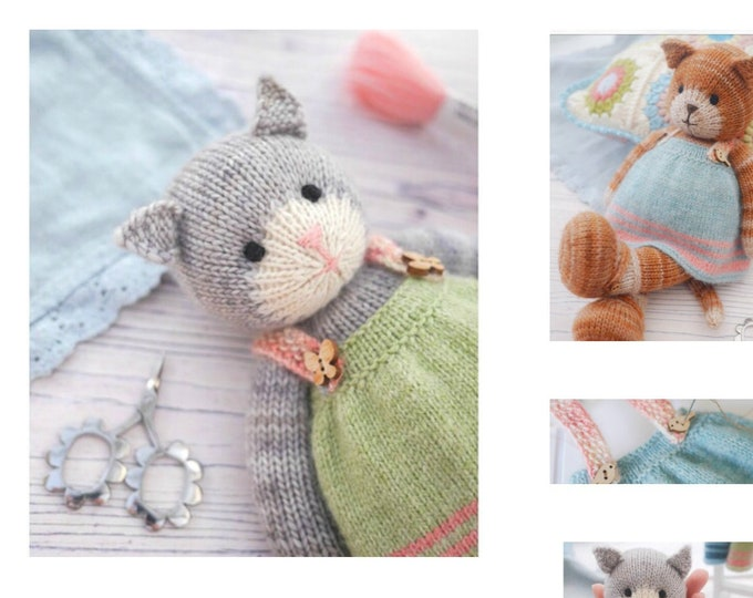 Tearoom Girl Cat/ Toy Knitting Pattern/ Knitted Animal/ Pinafore/ Doll Clothes