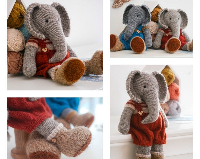 Tearoom Boy Elephant/Toy Knitting Pattern/ Instant Download/In the round/Seamless