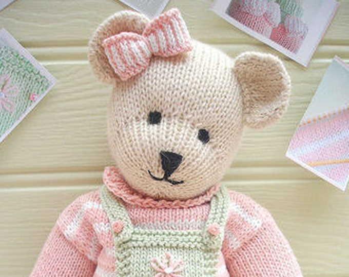 "CANDY Bear 15""/ Toy/ Teddy Bear Knitting Pattern/ Plus Free Handmade Shoes Knitting Pattern"