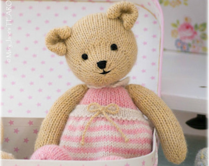 Girl Teddy Bear Knitting Pattern/ In the round/ TEAROOM Toy Knitted Teddy Bear Pattern/ Small Bear