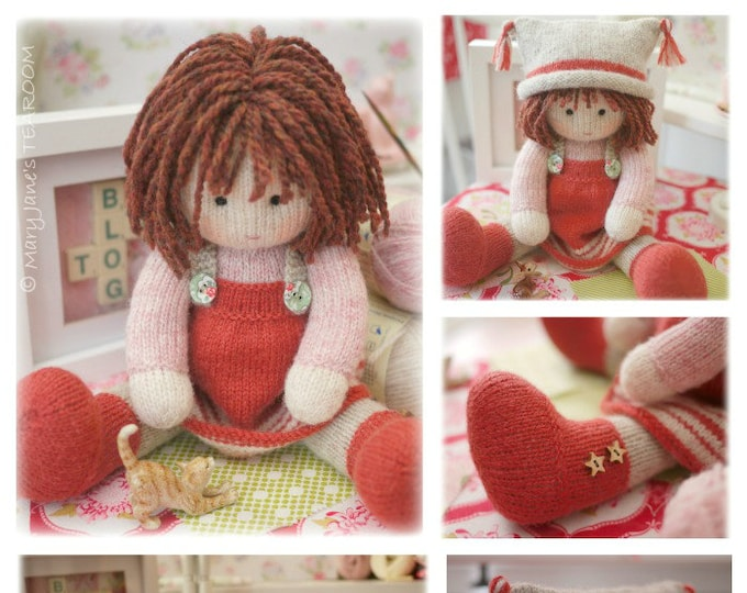 Toy Knitting Pattern/ Tearoom Doll Knitting Pattern/ In the round/ Plus FREE project for  'A Simply Sewn Pinafore'
