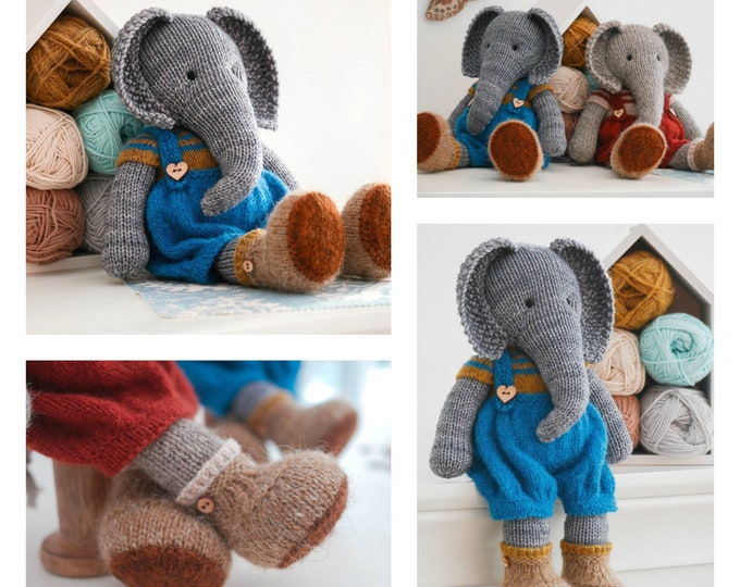Tearoom Boy Elephant/ Toy Knitting Pattern/ 2 Single Pointed Needles