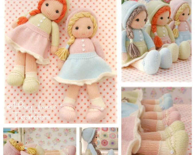 Little Yarn Dolls / Doll Knitting Pattern/ In the round/ TEAROOM Knitted Dolls/ Toy Knitting Pattern