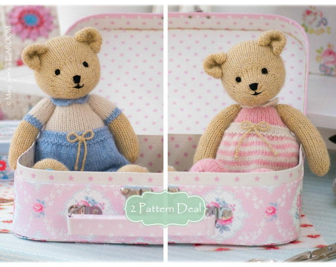 2 Teddy Bear Knitting Pattern Deal/ TEAROOM Girl and Boy Bear Toy Patterns/ INSTANT Download/ Small Knitted Bears