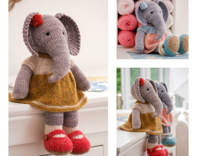 Tearoom Girl Elephant/ Toy Knitting Pattern/ 2 Single Pointed Needles