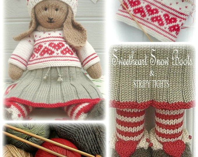 ANIKA Rabbit / Bunny Toy Knitting Pattern / Lapland Visitors Part 2/ Plus Free Handmade Shoes Knitting Pattern/ INSTANT Download