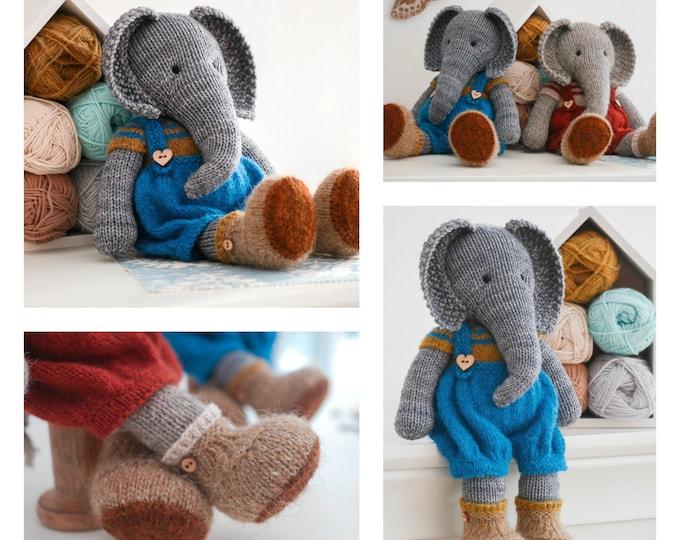Tearoom Boy Elephant/ Toy Knitting Pattern/ 2 Single Pointed Needles