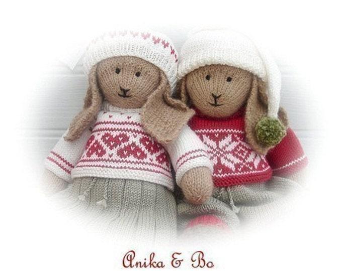 2 Bunny Toy Knitting Patterns/ Anika & Bo/ Lapland Visitors/ Rabbits Plus FREE Handmade Shoes Knitting Pattern