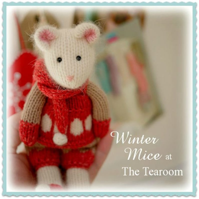 Mouse Knitting Pattern/ 2 WINTER Mice at the TEAROOM Toy image 0