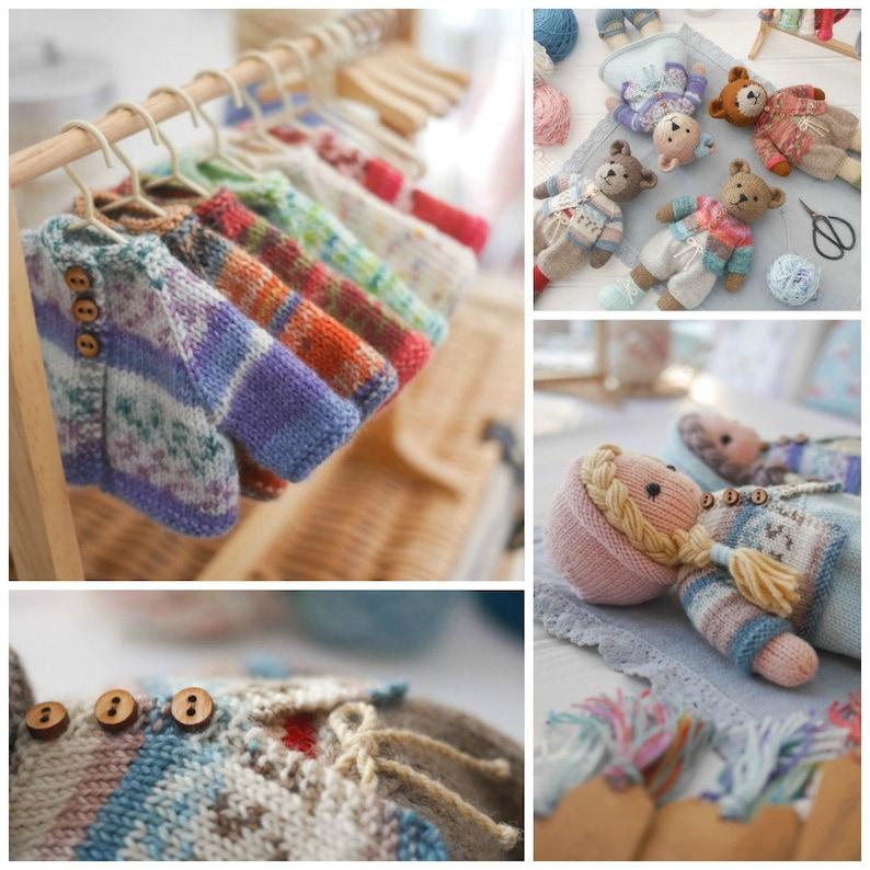 Tearoom Sock Yarn Bear Jackets/ PDF Toy Knitting Pattern/ image 0