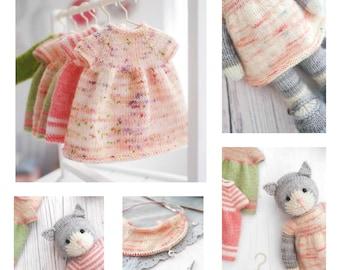 "Tearoom Dresses/ Knitting Pattern/ Doll Clothes/Doll Dress/ Top - Down Dress (to fit 11"" MJT Animals and Dolls)"