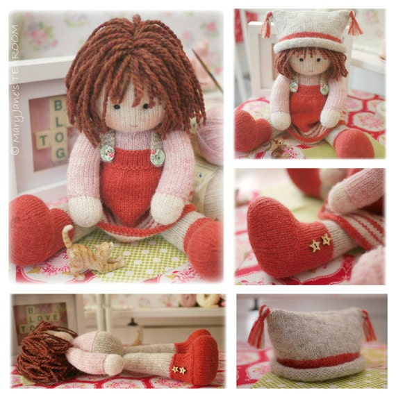 Chrystal Toy Doll Knitting Pattern Knitted Doll Plus Free Pdf For A Simply Sewn Pinafore Instant Download