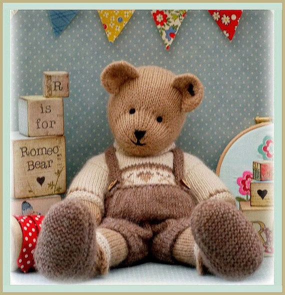 Romeo Bear Teddy Bear Toy Knitting Pattern Pdf Plus Free Etsy