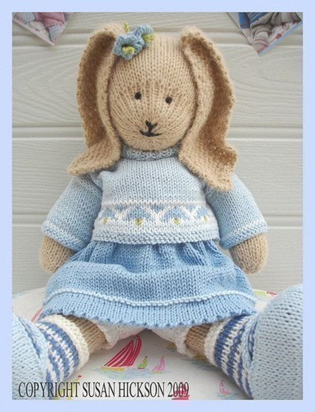 Bluebell Rabbit Pdf Toy Knitting Pattern Bunny Rabbit Plus Etsy