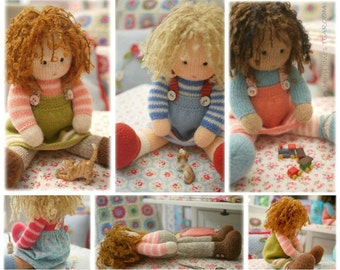 Dolls from the TEAROOM/ Toy Knitting Patterns/ 4 variations Knitted Dolls plus Free project for A Simply Sewn Pinafore