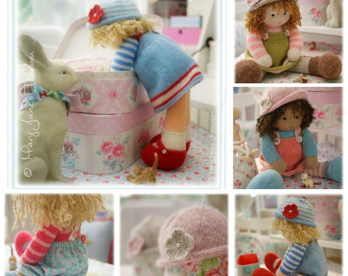 Doll Knitting Patterns Deal/ 4 TEAROOM Dolls and Hats Toy Knitting Patterns/  plus FREE 'Sewn Pinafore' Pattern/