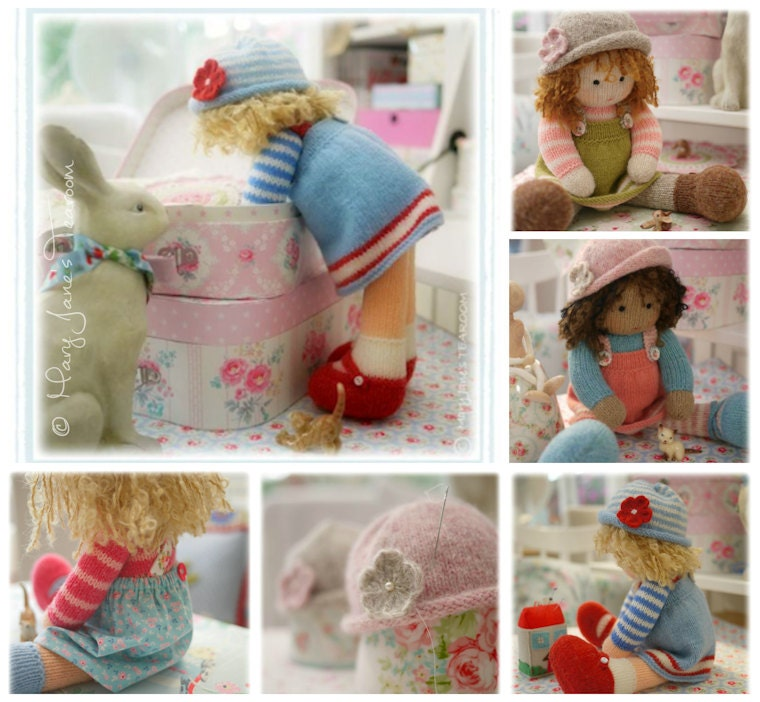 Doll Knitting Patterns Deal/ 4 TEAROOM Dolls and Hats Toy Knitting ...