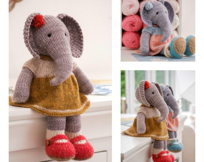 Tearoom Girl Elephant/ Toy Knitting Pattern/ 2 Single Pointed Needles