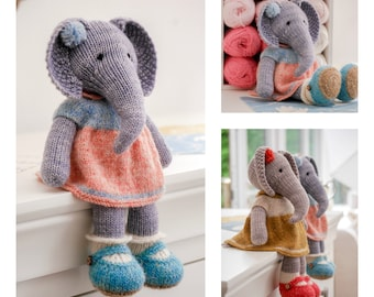 Tearoom Girl Elephant/Toy Knitting Pattern/In the round/