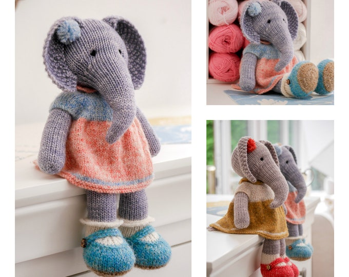 Tearoom Girl Elephant/Toy Knitting Pattern/ In the round/