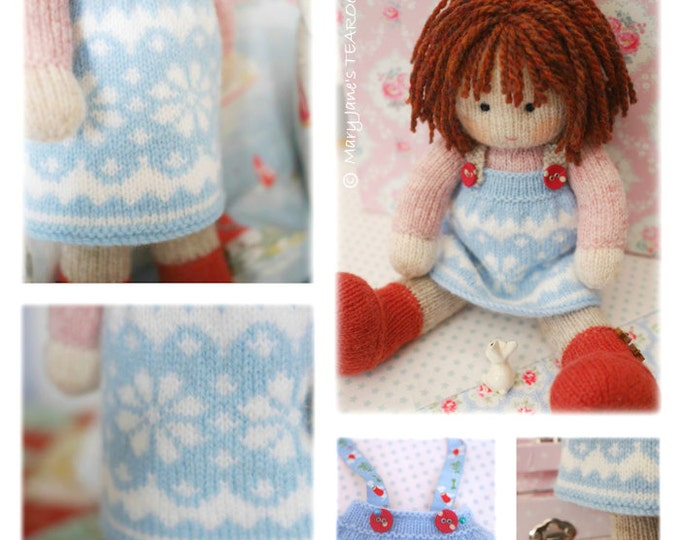 STARRY Doll Pinafore Knitting Pattern/ TEAROOM Knitted Pinafore/ Doll Clothes Toy Knitting Pattern