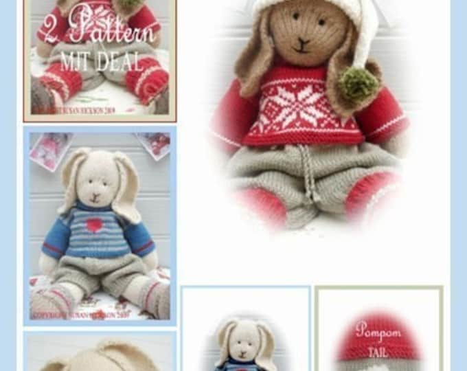 2 Bunny Knitting Pattern Deal/ Boy Bunnies / Bo & Oscar/ Rabbit Toy Collection/ Plus Free Handmade Shoes Pattern