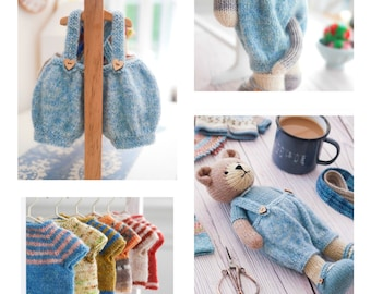 """Tearoom 'Baggy Trousers & Top'/ Doll Clothes/ Toy Knitting pattern (to fit 11"""" MJT Animals and Dolls)"""