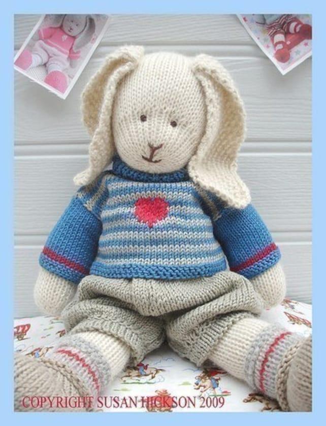 Oscar Rabbit Bunny Pdf Pattern Toy Knitting Pattern Plus Etsy