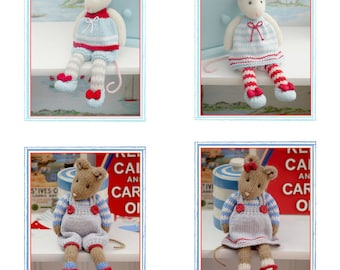 MJT Mice 2 Knitting Pattern Deal/ 'Tearoom Mice' & 'Cornish Mice' Pdf Toy Knitting Patterns plus Free 'Mimi Mouse' project/ INSTANT Download