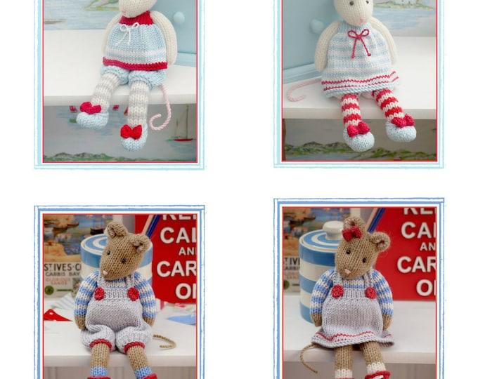 MJT Mice 2 Knitting Pattern Deal/ 'Tearoom Mice' & 'Cornish Mice' Toy Knitting Patterns plus Free 'Mimi Mouse' project
