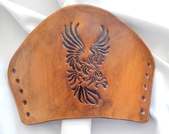 Soaring Eagle leather bracers, leather cuff, tribal Eagle, leather armor