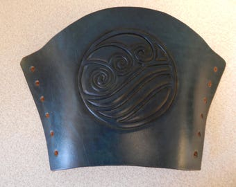 Water tribe symbol leather bracer,  gauntlet, Over stock Sale/FREE U.S. SHIPPING