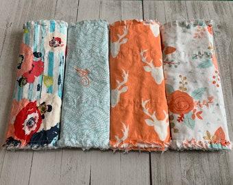 Navy Aqua Coral Girl Flannel Burp Cloths
