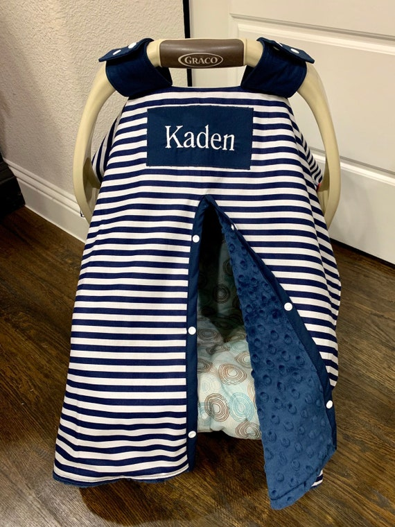 Baby Car Seat Cover Navy Stripe With Navy Blue Minky With Etsy