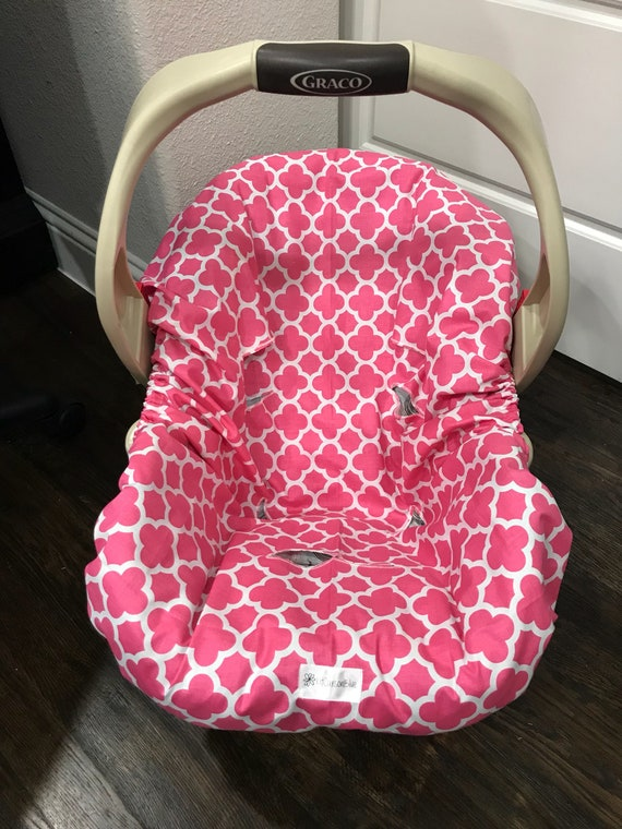 Pink Quatrefoil Girl ALL COTTON Car Seat Pad Liner