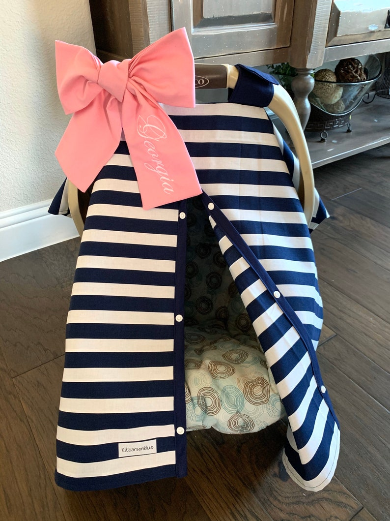 For baby Boy or Girl Bow option available Navy Blue Stripe and Navy trim Stripes Canopy Cover Baby Car Seat Cover