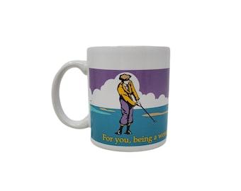 Vintage Hallmark Dad Appreciation Par For The Corse Golfing / Golf Purple & Teal 12oz Ceramic Mug