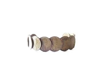 Vintage Unmarked Unisex Adjustable 1969 Copper Penny Cuff Bracelet