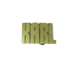 1970's Vintage Solid Brass Karl Name Belt Buckle