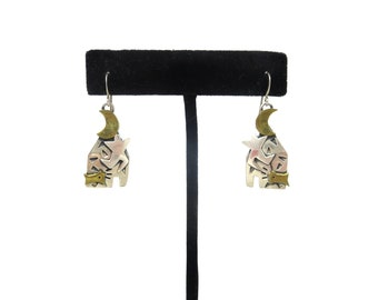 Pair of Vintage Far Fetched FF Sterling Silver & Brass Mixed Metal Celebration, Moon, Dog Pierced Dangle Earrings