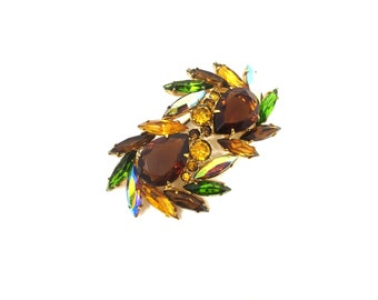 Vintage Unisex Made in Czechoslovakia Autumn / Fall Gold Tone & Brown, Green AB, and Orange Rhinestone Brooch
