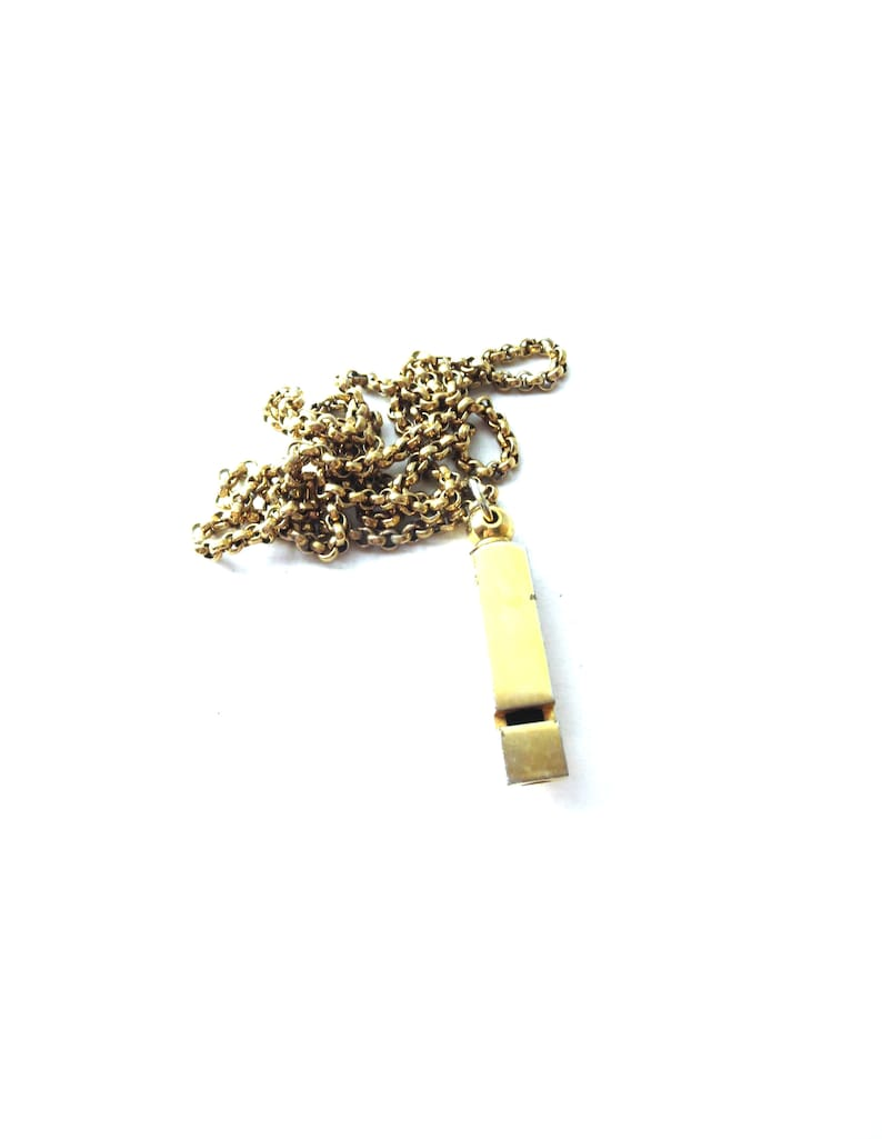 Functioning Vintage Unmarked Boxy Gold Tone Metal Hefty Stranger Danger /  Safety Whistle Pendant Chain Necklace