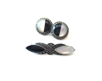Stunning Art Deco Vintage Sterling Silver 925 Black Onyx & White Mother of Pearl MOP Marcasite Demi Parure Brooch and Pierced Earring